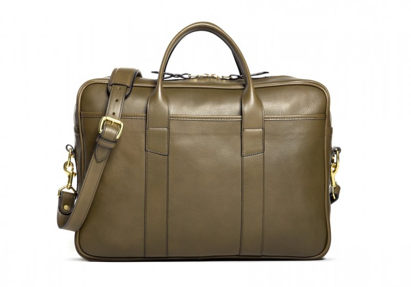 Commuter Briefcase-Olive in Smooth Tumbled Leather