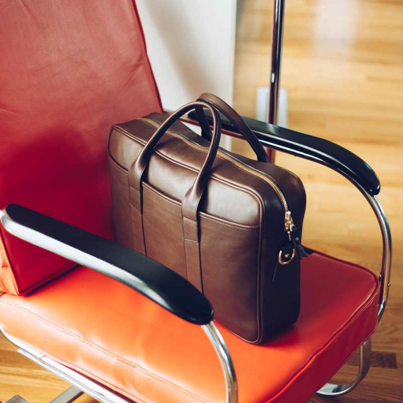 Commuter Briefcase in Smooth Tumbled Leather