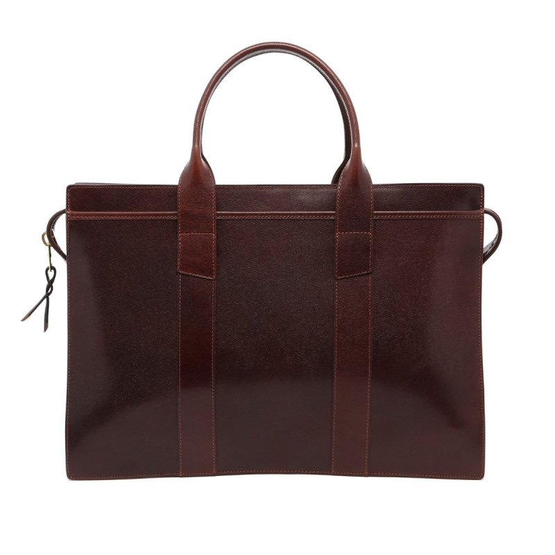 Zip-Top Briefcase - Chocolate - Sting Ray Printed Leather in