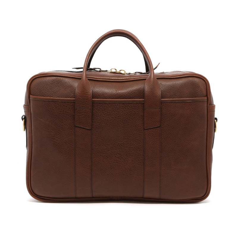 Commuter Briefcase - Light Brown - Pebbled Leather in