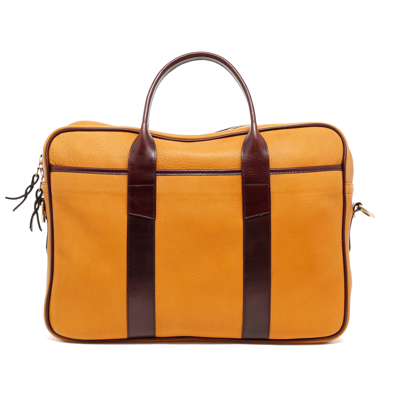 Commuter Briefcase - Dark Ochre/Chocolate - Tumbled Leather  in
