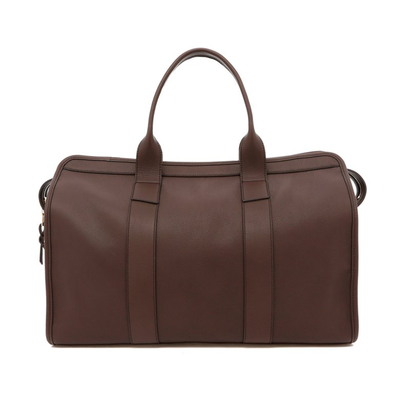 Small Travel Duffle - Dark Taupe - Navy Interior - Soft Tumbled in