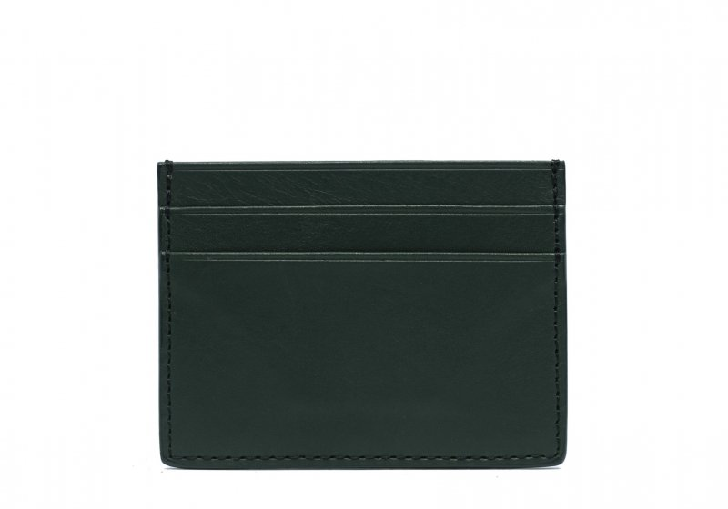 Double Mini Card Wallet-Green in Smooth Tumbled Leather