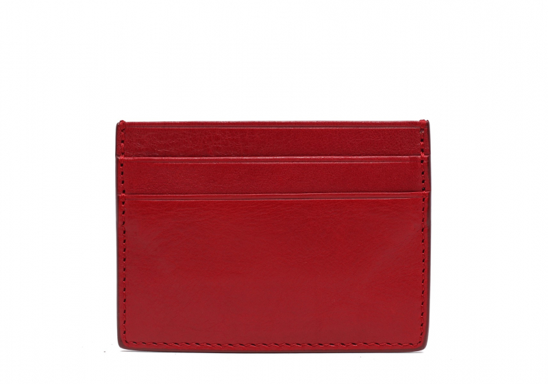 Double Mini Card Wallet-Red in Smooth Tumbled Leather