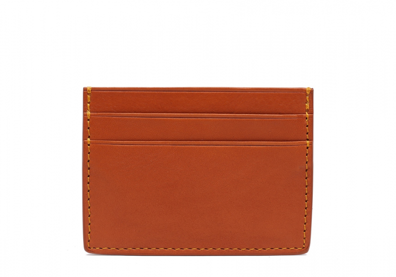 Double Mini Card Wallet-Tan in Smooth Tumbled Leather