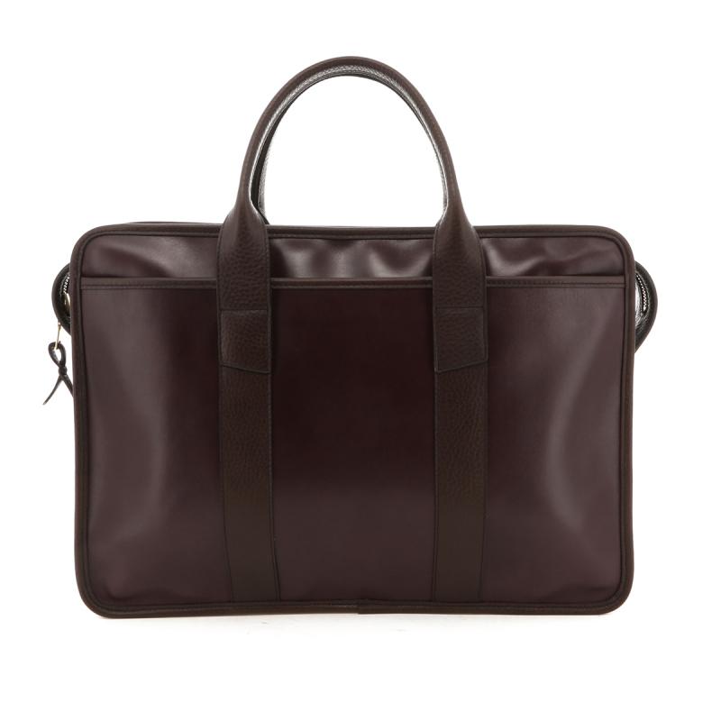 Bound Edge Zip-Top Briefcase - Eggplant/Brown Trim - Belting Leather in
