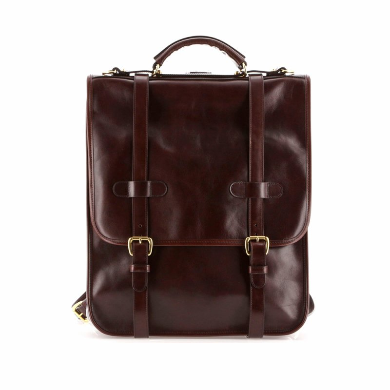 English Backpack - Chocolate - Glossy Tumbled Leather