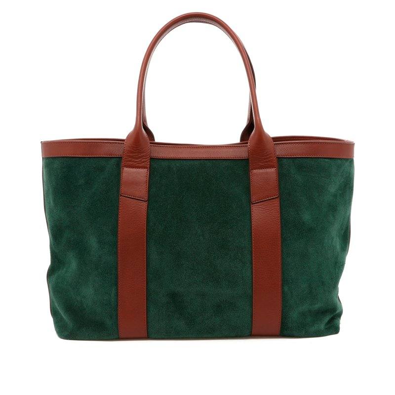 Large Working Tote - Evergreen/Chestnut Trim - Suede in