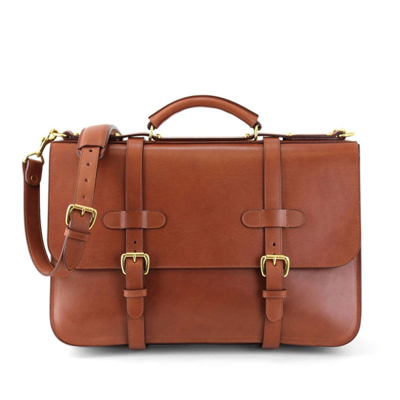 Final Chestnut Harness Belting Leather English Briefcase Frank Clegg Made In Usa 1 Raw 2