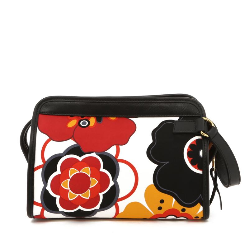 Large Travel Kit - Flower Pattern Canvas/Black Trim - Red Interior in
