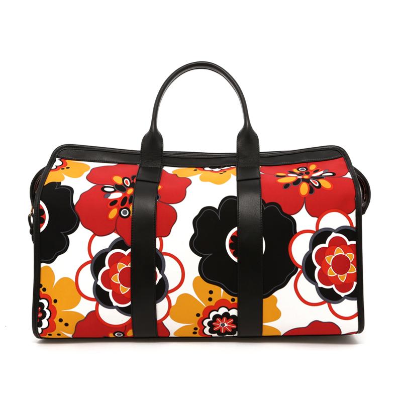 Signature Travel Duffle - Flower Pattern Canvas/Black Trim - Red Interior in