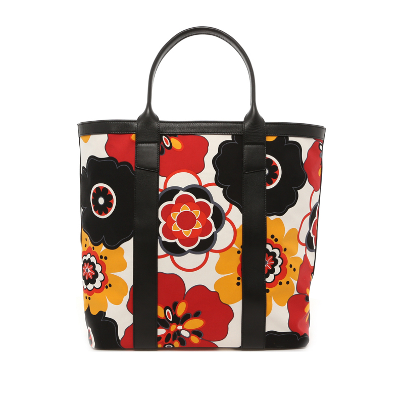 Tall Tote - Flower Canvas/Black Trim - Red Interior in