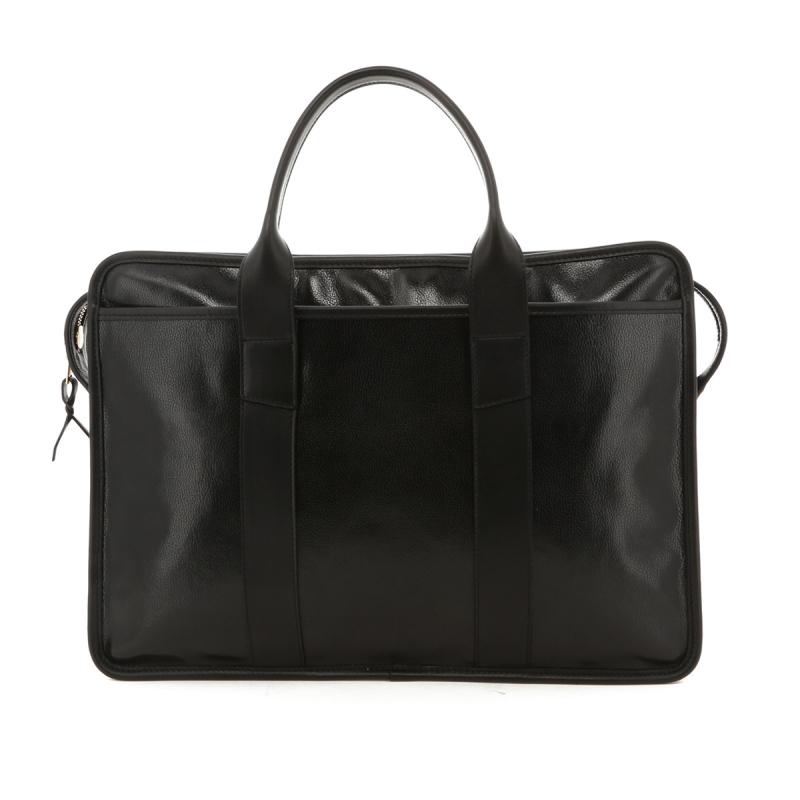 Bound Edge Zip-Top Briefcase - Glossy Black/Black- Goatskin in