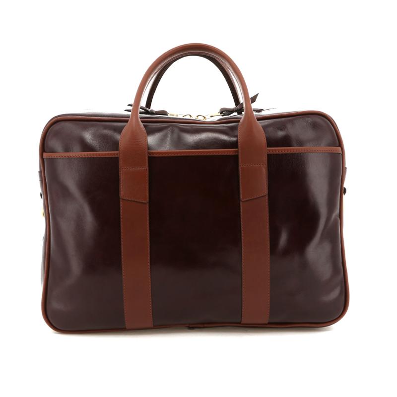 Commuter Briefcase - Glossy Maroon / Chestnut Trim in