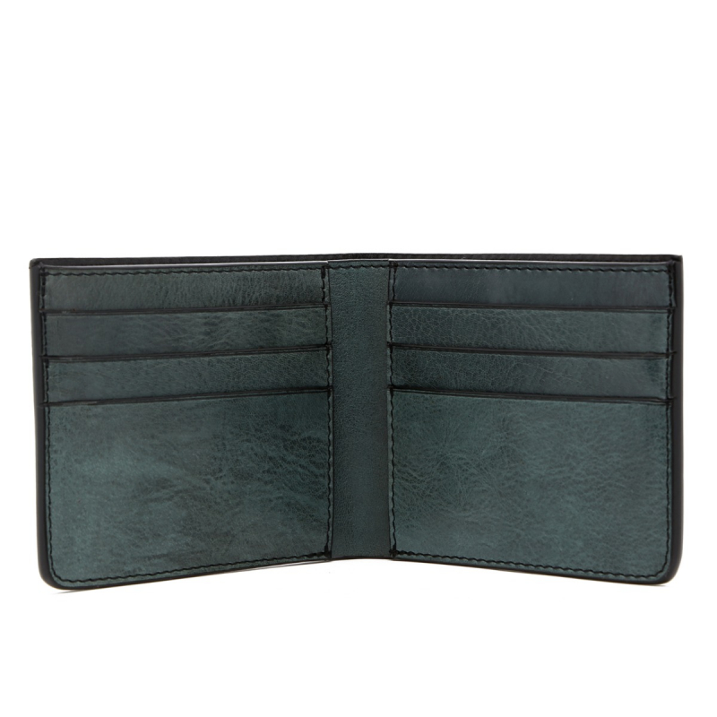 Bifold Wallet - Pine Green - Glossy Tumbled Leather  in