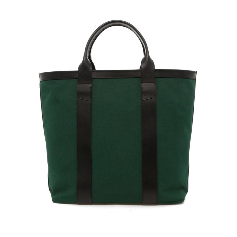 Tall Tote - Green Canvas / Black Trim - Zipper Top - Shorter Handles in