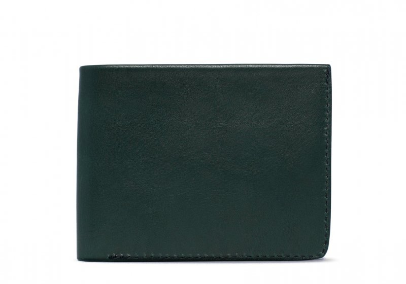 Bifold Wallet Slanted Pockets-Green in Smooth Tumbled Leather