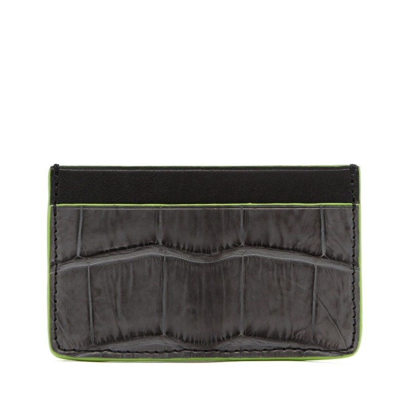 Mini Card Wallet - Grey / Black - Alligator - Lime Green Edges in