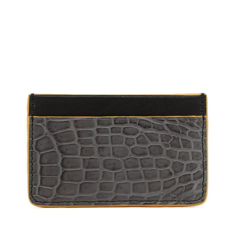Mini Card Wallet - Grey / Black - Alligator Yellow Edges in