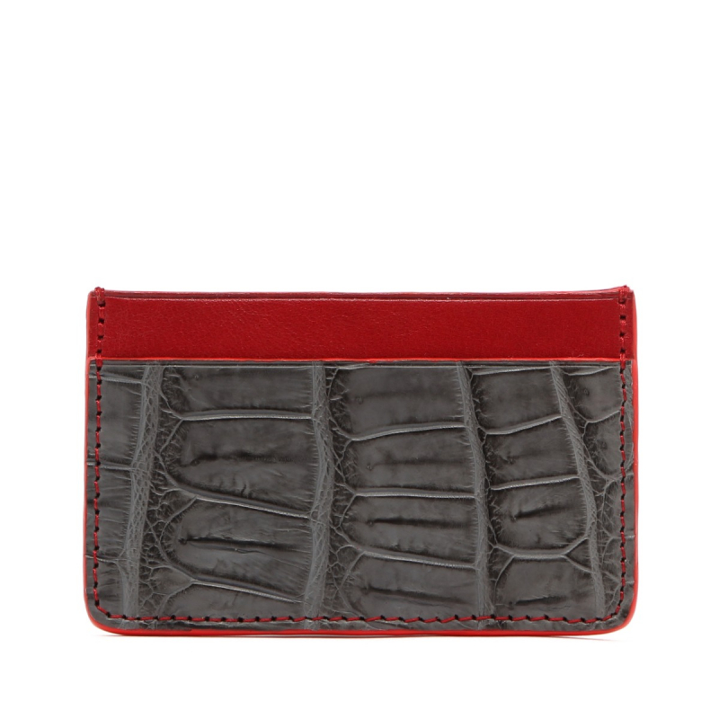 Mini Card Wallet - Grey / Red - Alligator - Red Edges in