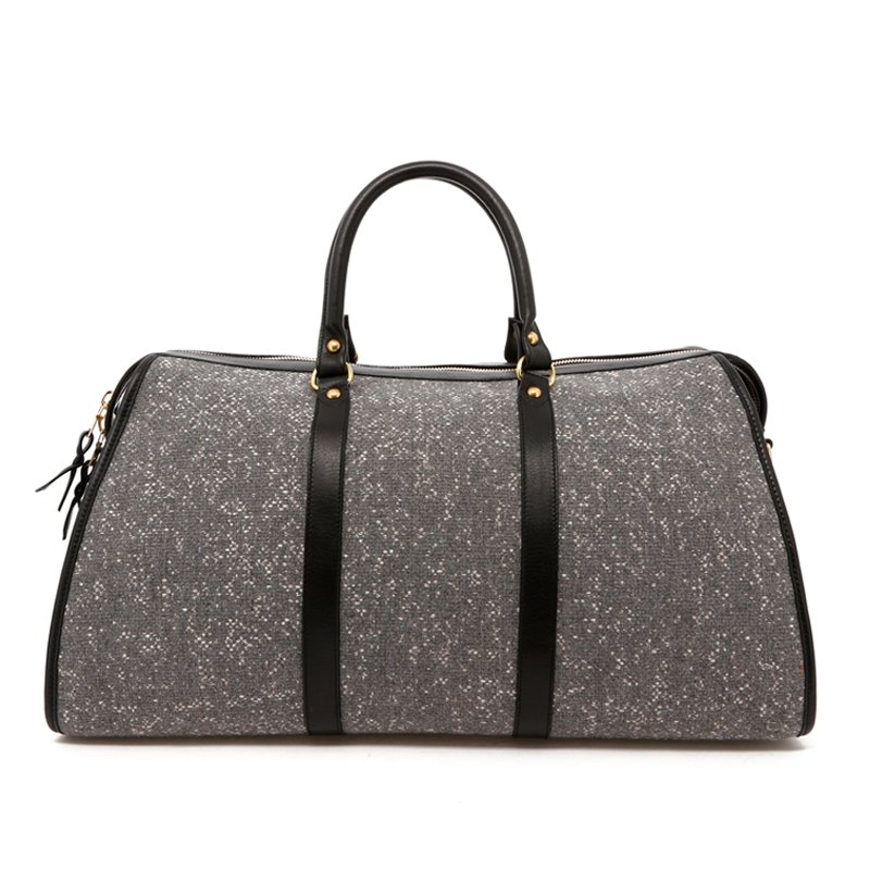 Hampton Duffle - Greystone/Black - Sunbrella Tweed in