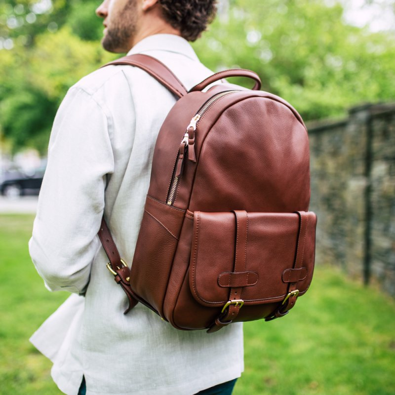 Hampton Zipper Backpack in Smooth Tumbled Leather