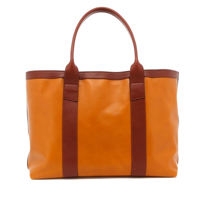 Large Working Tote - Honey Gold/Chestnut Trim - Tumbled in