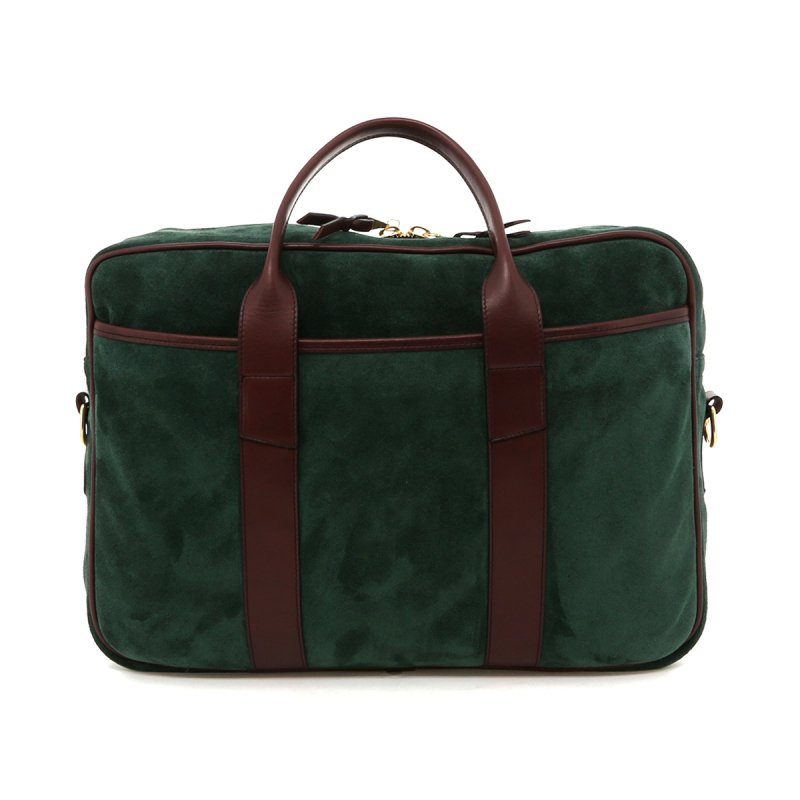Commuter Briefcase - Hunter Green Suede / Chestnut Tumbled Leather in