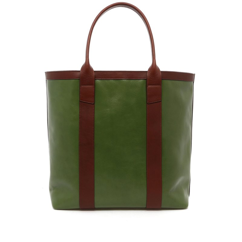 Tall Tote - Ivy Green/Chestnut - Tumbled in