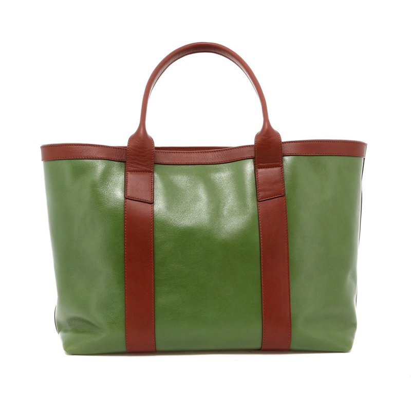 Large Working Tote - Ivy Green/Chestnut Trim - Tumbled in