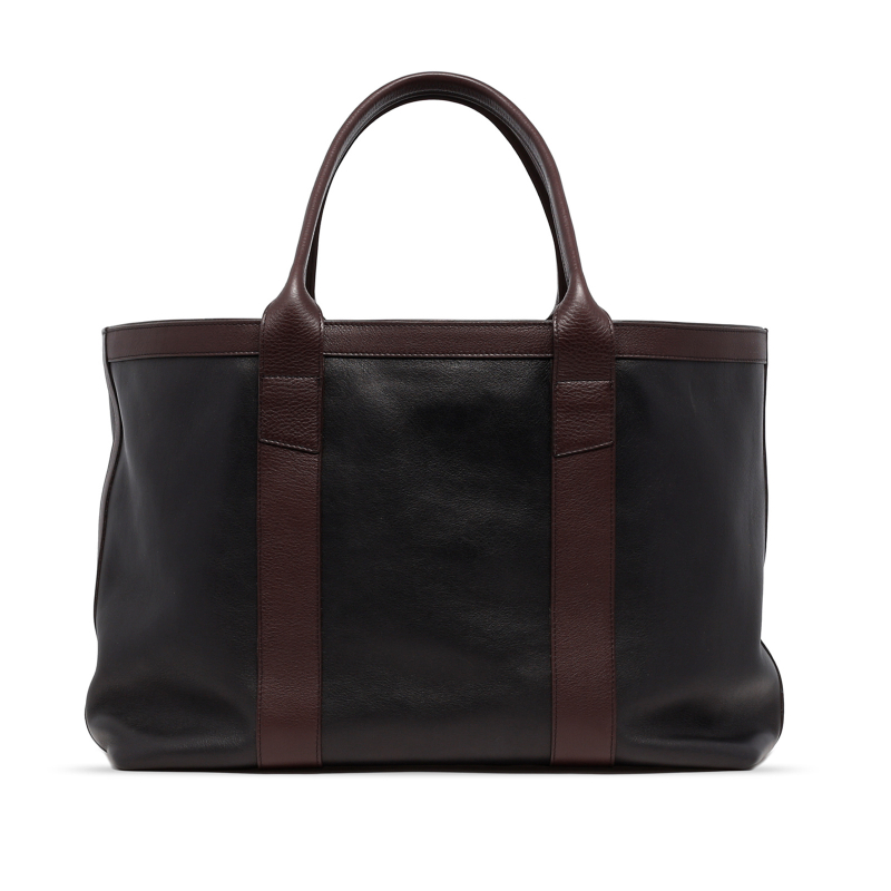 Large Working Tote - Black/Chocolate - Tumbled Leather in