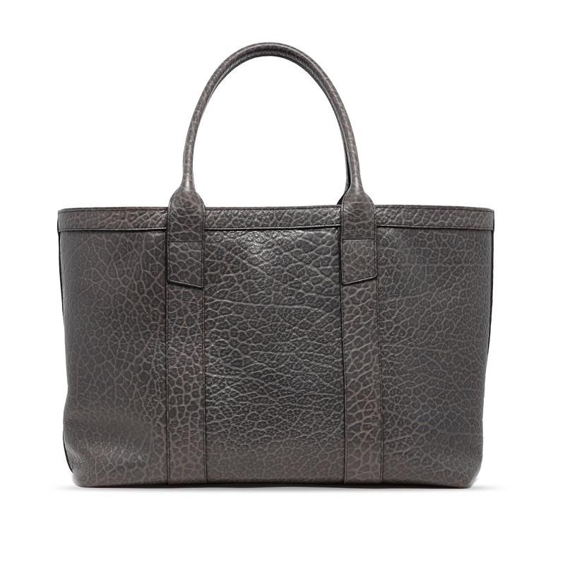 Large Working Tote - Grey - Shrunken Grain Leather