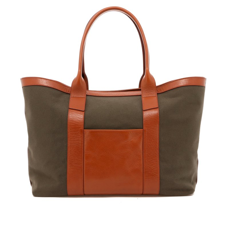 Large Working Tote - Olive Canvas / Cognac Trim in