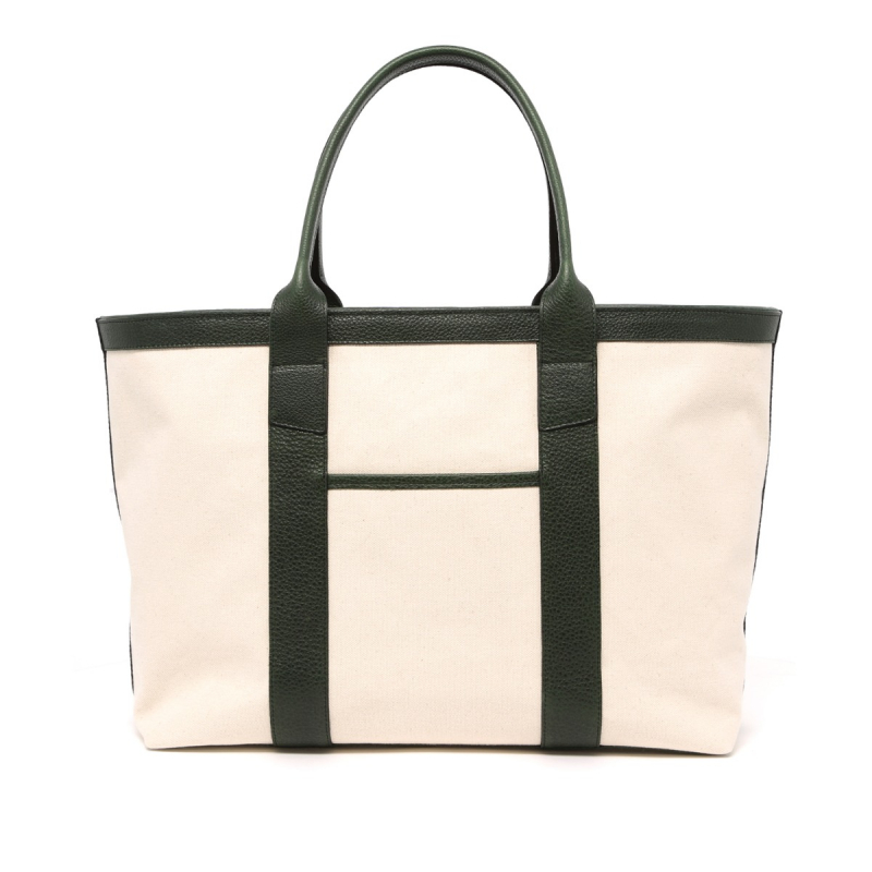 Large Working Tote - Natural/Green - Terracotta Interior - Canvas  in