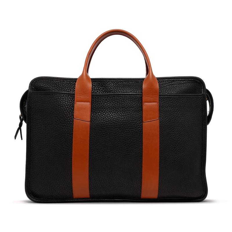 Bound Edge Zip-Top - Black/Cognac - Pebble Grain Leather  in