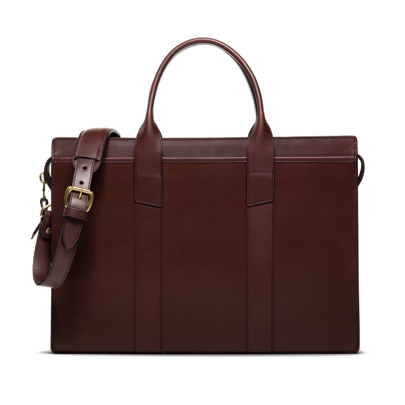Leather Briefcase Chocolate Zip Top