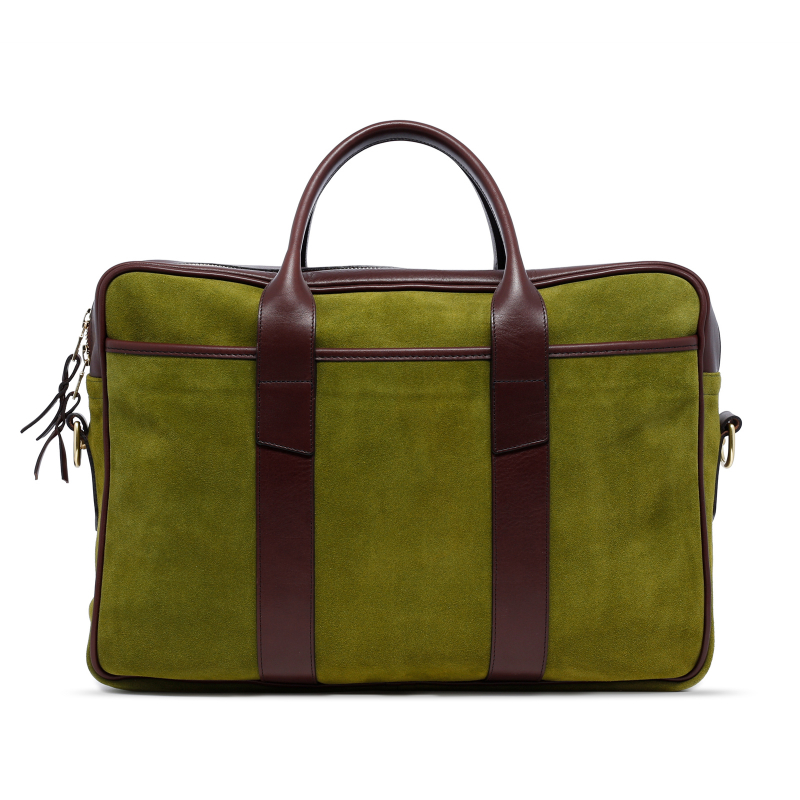 Commuter Briefcase - Loden Green/Chocolate - Suede