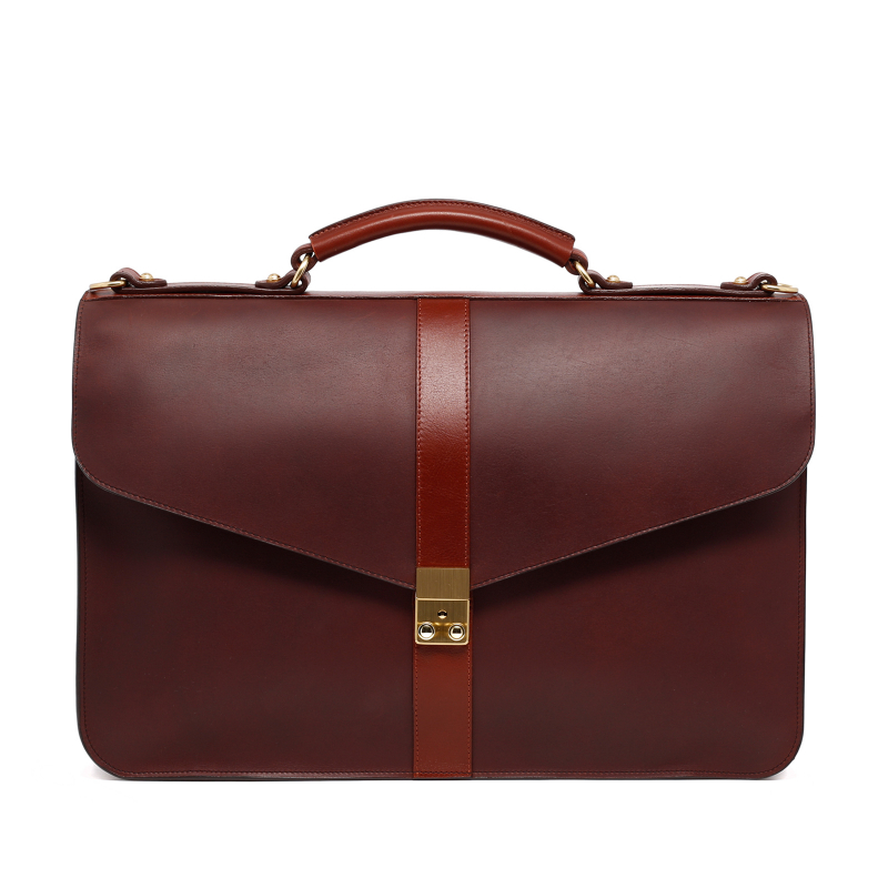 Lock Briefcase - Matte Chocolate/Chestnut - Harness Belting Leather in