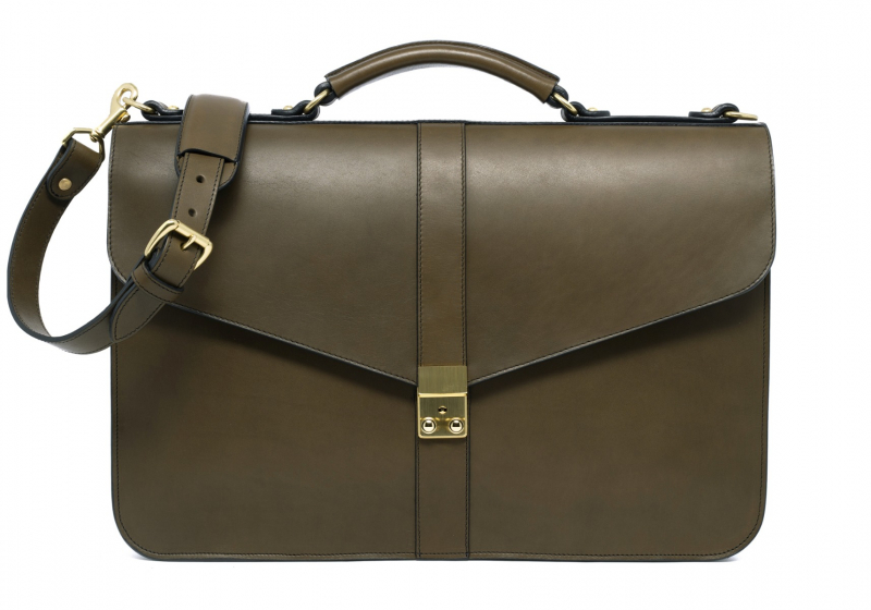 Lock Briefcase-Olive in Harness Belting Leather