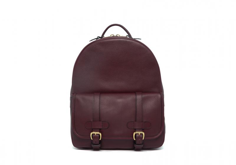 Hampton Zipper Backpack-Burgundy in Smooth Tumbled Leather