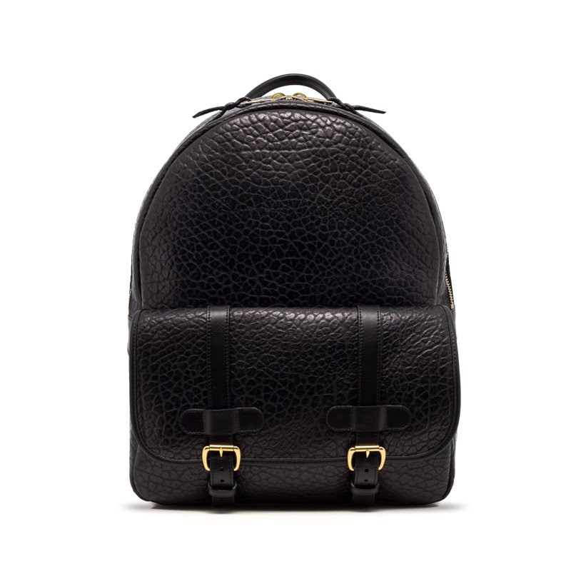 Leather Zipper Backpack Shrunken Black