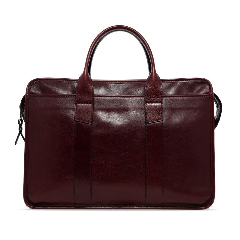 Bound Edge Zip-Top - Dark Plum - Glossy Tumbled Leather