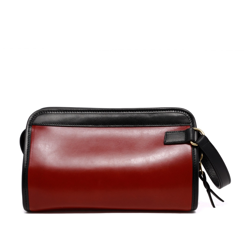 Small Travel Kit - Brick Red/Black - Harness Leather in