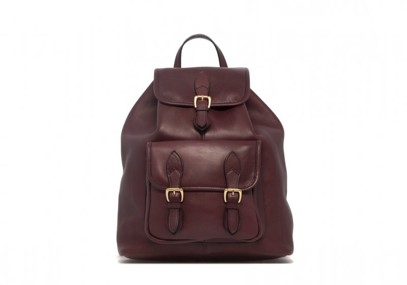 Classic Backpack-Burgundy in Smooth Tumbled Leather