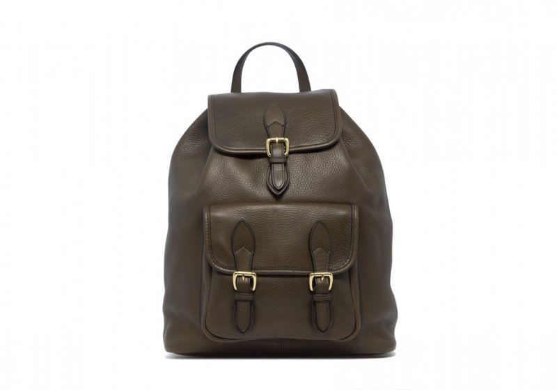 Classic Backpack-Olive in Smooth Tumbled Leather