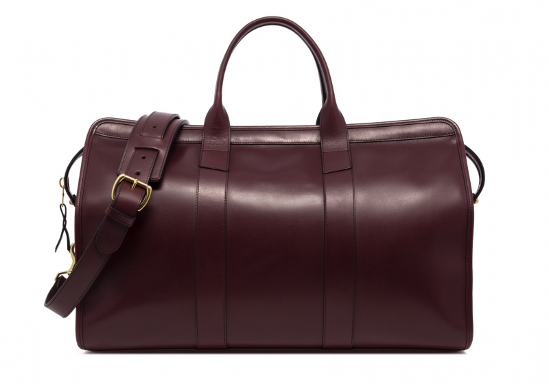 Signature Travel Duffle -Burgundy-Lined in Harness Belting Leather