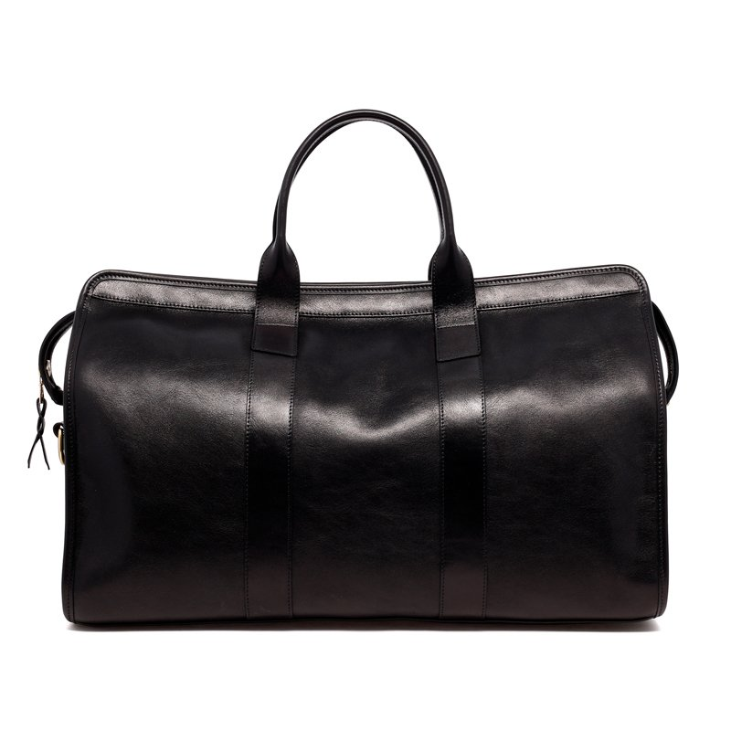 Signature Travel Duffle - Black- Smooth Gloss Leather