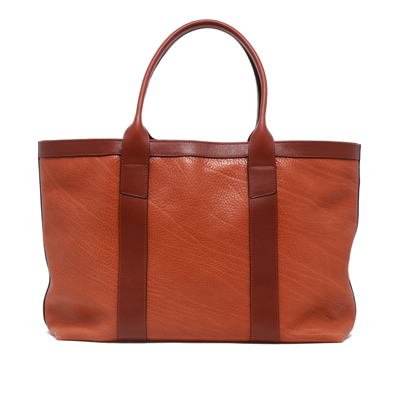 Large Working Tote - Cognac/Chestnut - Pebbled Tumbled Leather in