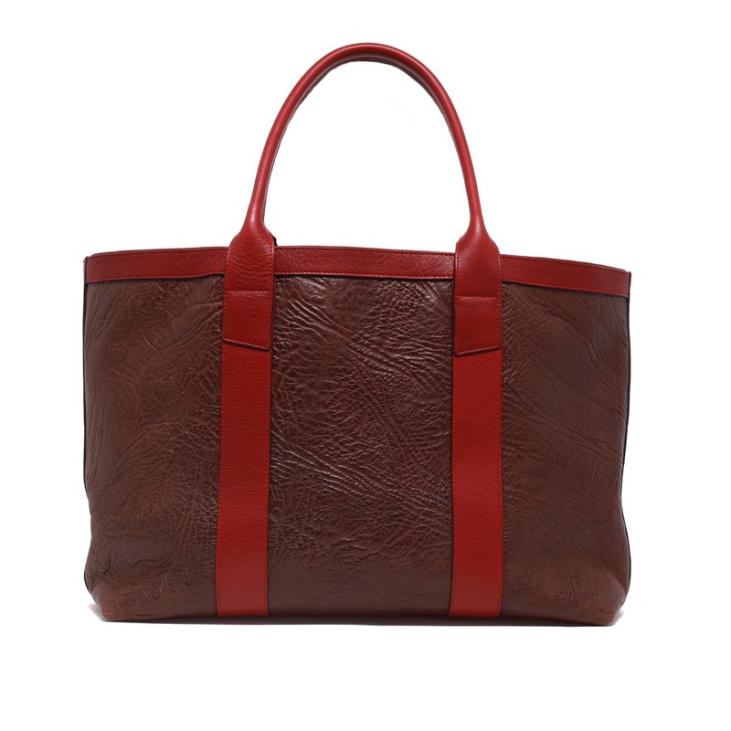 Large Working Tote - Chocolate/Red - Sporadic Leather in