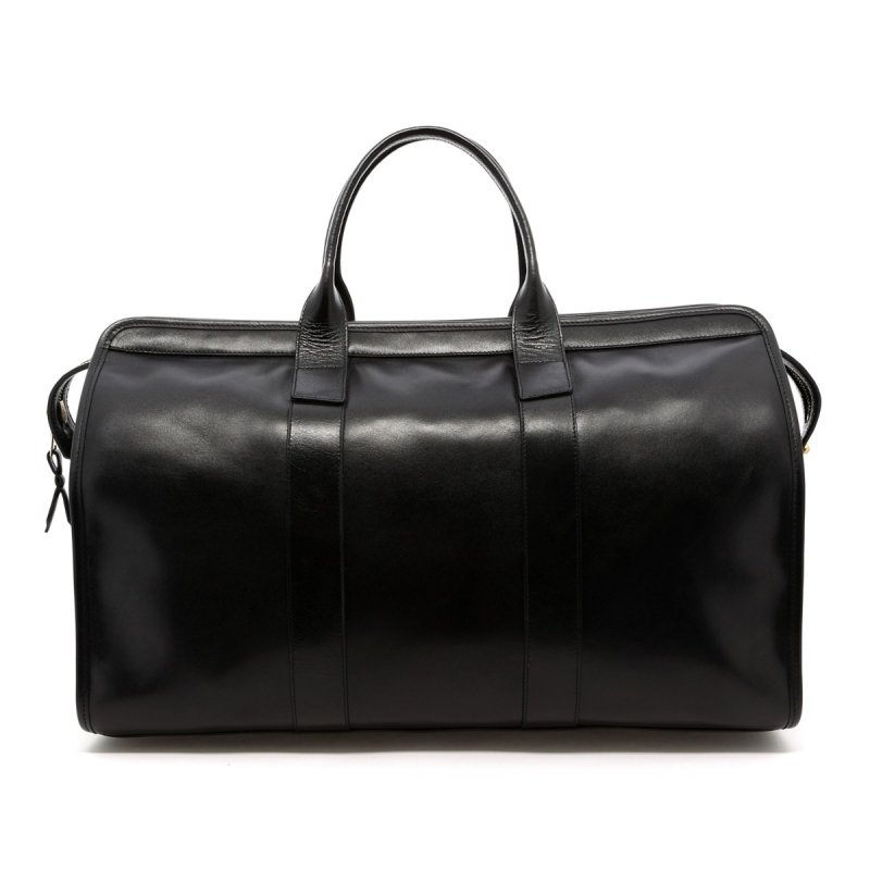 Signature Travel Duffle - Black - Tumbled Glossy Leather  in
